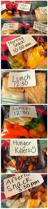"Great food prep idea so you can eat healthy all day! "" If you know you will have a busy day, plan your meals and snacks accordingly -katherine rudat """