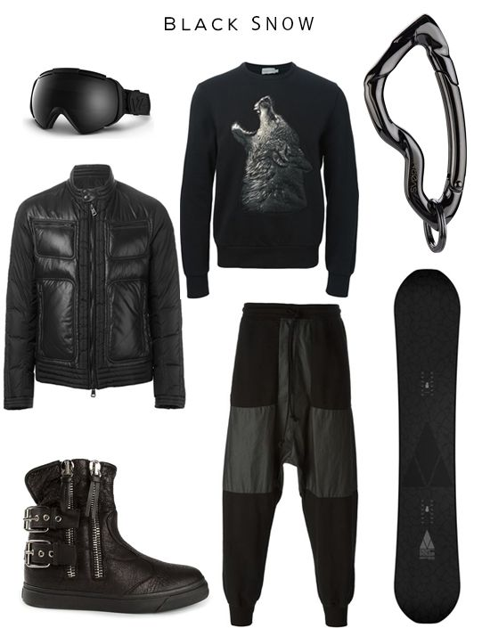 Black Snow Clockwise: El Kabong snow goggle by VONZIPPER,   'Allemand' padded jacket & Wolf patch sweatshirt by MONCLER, Arcus carabiner by SVORN, Enemy +++ Snowboard by Bataleon, Panelled track pants by LOST AND FOUND, Ankle boots by GIUSEPPE ZANOTTI
