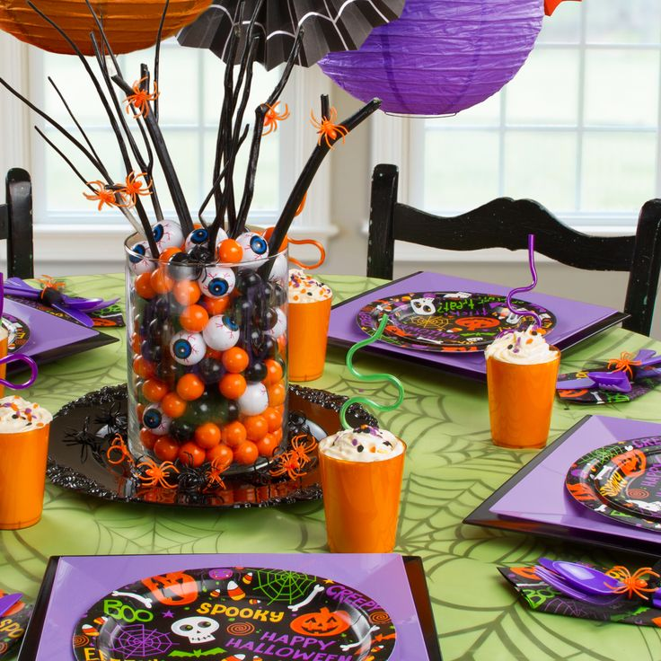 gumballs chocolate eyeballs scary cute centerpiece we love using twigs decorated with 3rd birthdaybirthday ideashalloween - Halloween Birthday Ideas