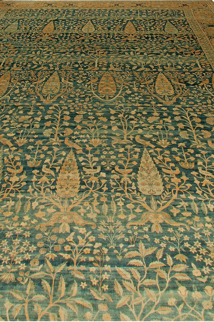 Antique Rugs Nyc Persian Rug Carpet Kirman With Green Fl Ornaments Close Up