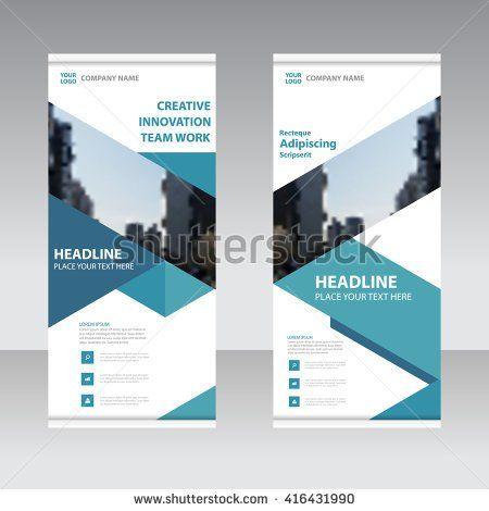 Blue Business Roll Up Banner flat design template ,Abstract blue Geometric banner design Vector illustration template set,  - stock vector