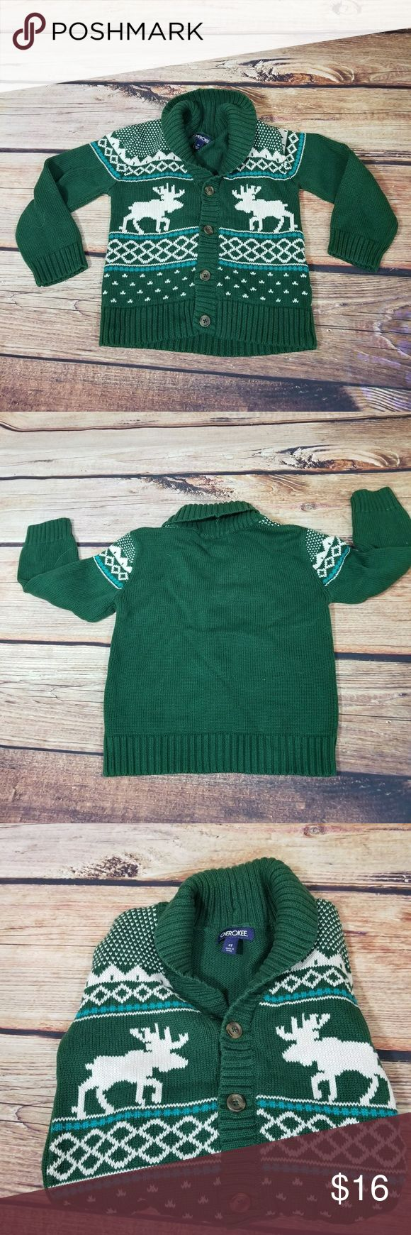 Cherokee Brand Moose design Green Cardigan Size 5T Adorable Moose patterned Cardigan 100% Cotton. Size 5T great condition , no signs of wear. Cherokee Shirts & Tops Sweaters