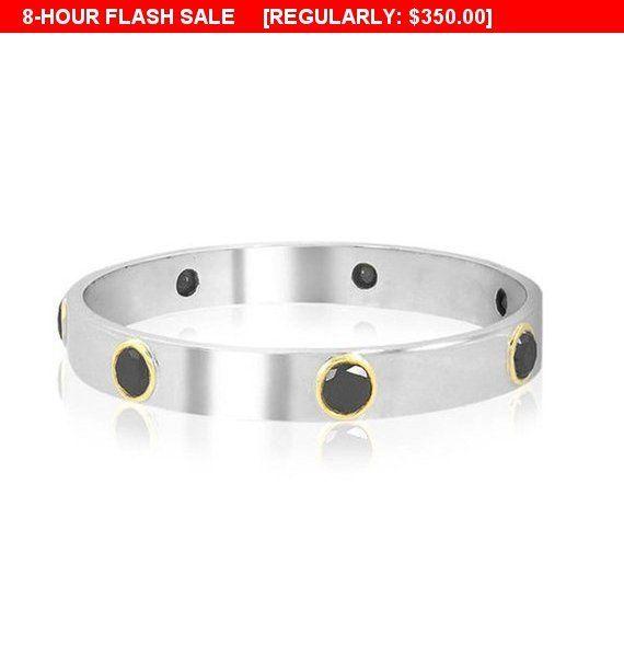 5mm-6mm Rough Black Diamond Bracelet in Sterling Silver,Customized Finish,Bridesmaid Gift,Wedding Gift,Birthday Gift,Certified Diamonds