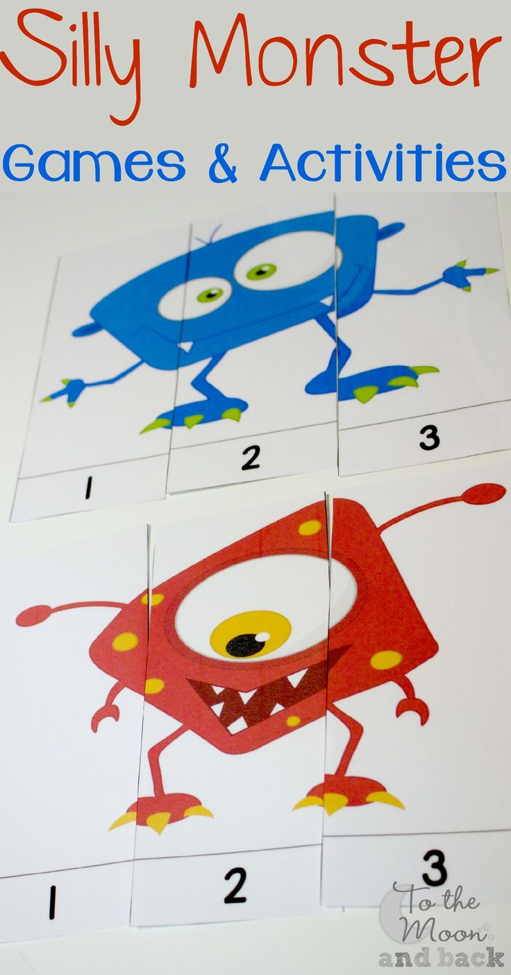 These silly monster puzzles are great for toddlers or for a break from regular school for older kids.