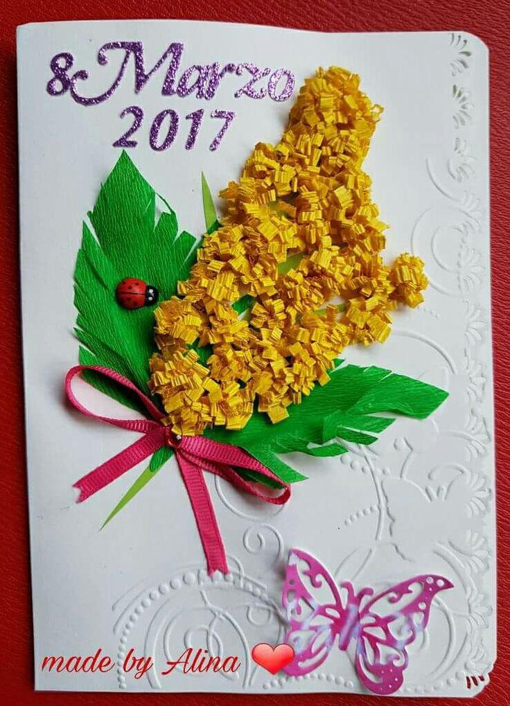 Cartolina per la festa della donna  realizzato a mano con la carta crespa e glitterata #handmade #scrap #scrapbooking #fattoamano