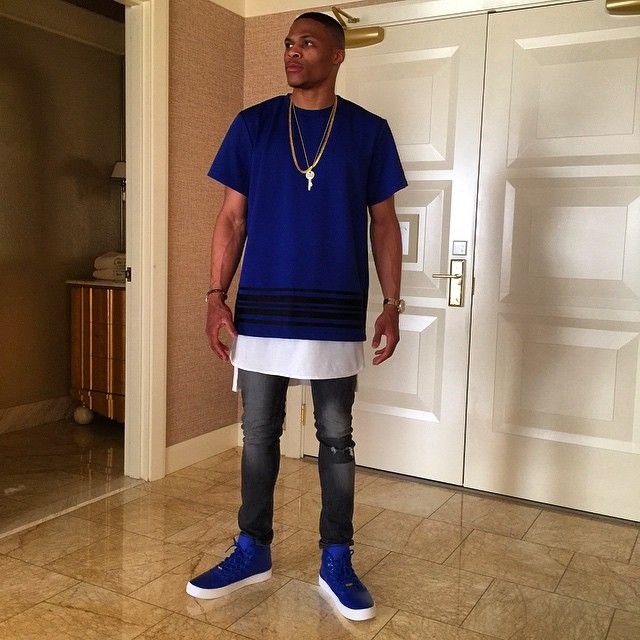 Russell Westbrook Wears His New Jordan Signature Shoe in Royal Blue