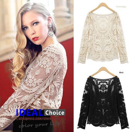 Aliexpress.com : Buy 2013 Fashion Sexy Women Sheer Sleeve Embroidery Floral Lace Crochet Plus Size Tee T Shirt Tops Blouse Drop Shopping H109 from Reliable blouse top suppliers on IDEAL Choice International Limited $12.70
