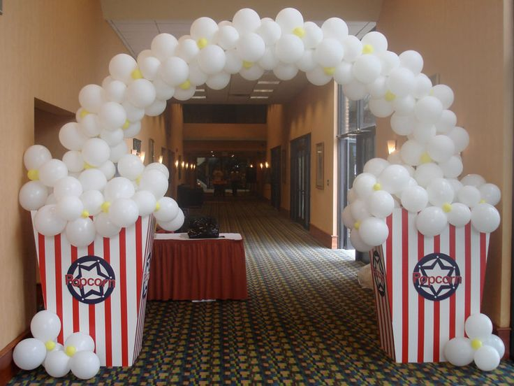 "Popcorn balloon arch, would be so great for welcoming kids/parents to ""Hollywood"" themed open house!"