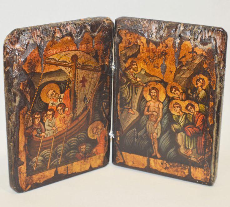 Orthodox Icon Greek Byzantine Handpainted Saint Nikolaos and Baptism of Christ