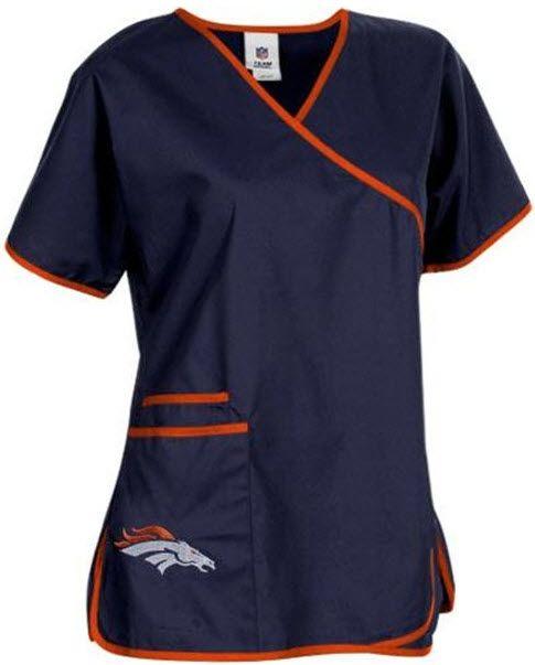 Denver Broncos Women's NFL Scrub Top - Mock wrap style Go #BRONCOS!!