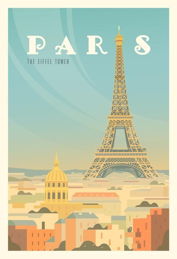 Paris Poster Paris Wall Art Paris Print Paris Art Vintage Poster Travel Poster Travel Illustration France Poster Eiffel Tower Poster In 2020 Paris Poster Paris Travel Poster Poster City