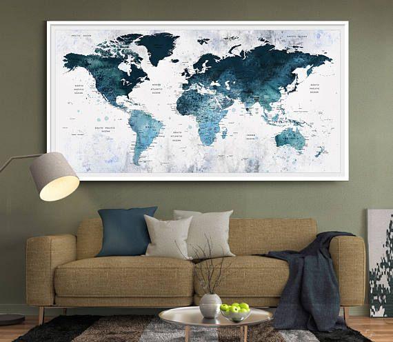 Large Blue Watercolor Push Pin World Map Art Office Wall Decor