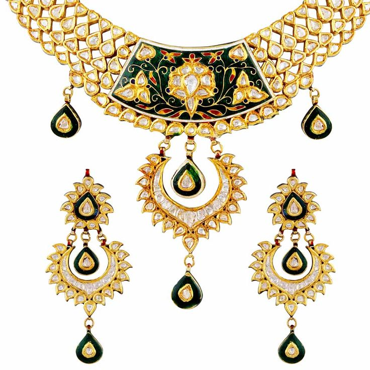 #polki #gold #necklace #set #indian #ethnic #green #color #season #Mehrasons #Jewellers