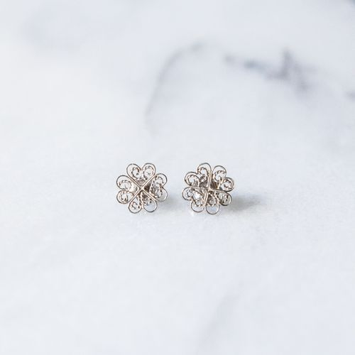 "Filirose ""Sandra Silver Earrings"" - Minimalistic, elegant fine jewelry with Portuguese filigree"