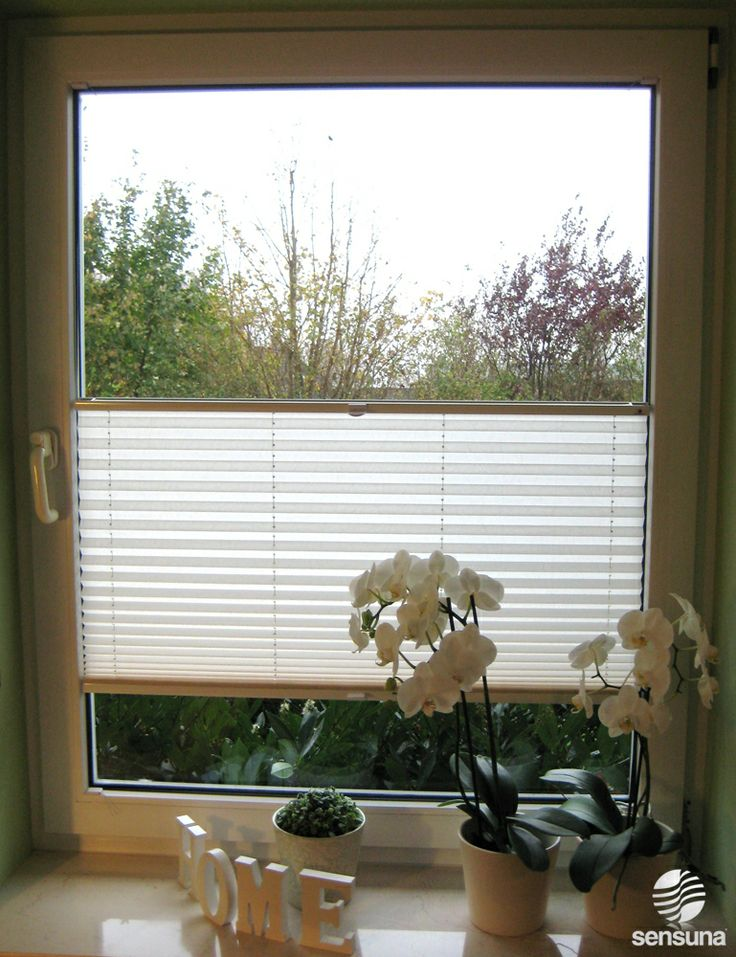 weißes Sichtschutzplissee am Küchenfenster / white pleated blind on the kitchen-window