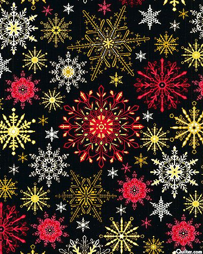 eQuilter Christmas Spectacular - Snowflake Stars - Black/Gold