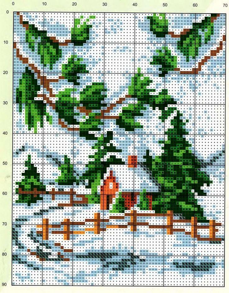 Points de croix *@* Paysage d'hiver