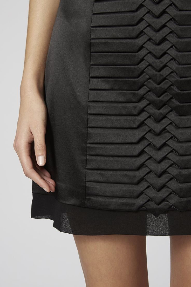 fabric manipulation black pleated skirt creative sewing