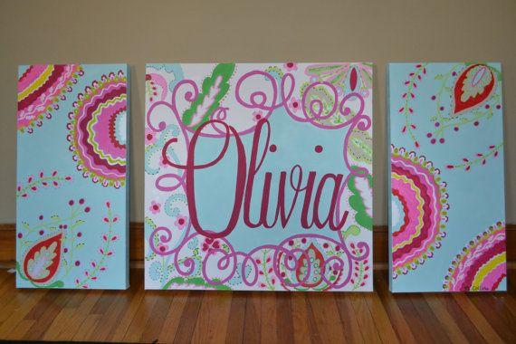 Paisley Baby Nursery Custom Handpainted Canvas Wall Decor Dena Fishbein Designs Kumari Garden Aqua Sujata Pink Teja