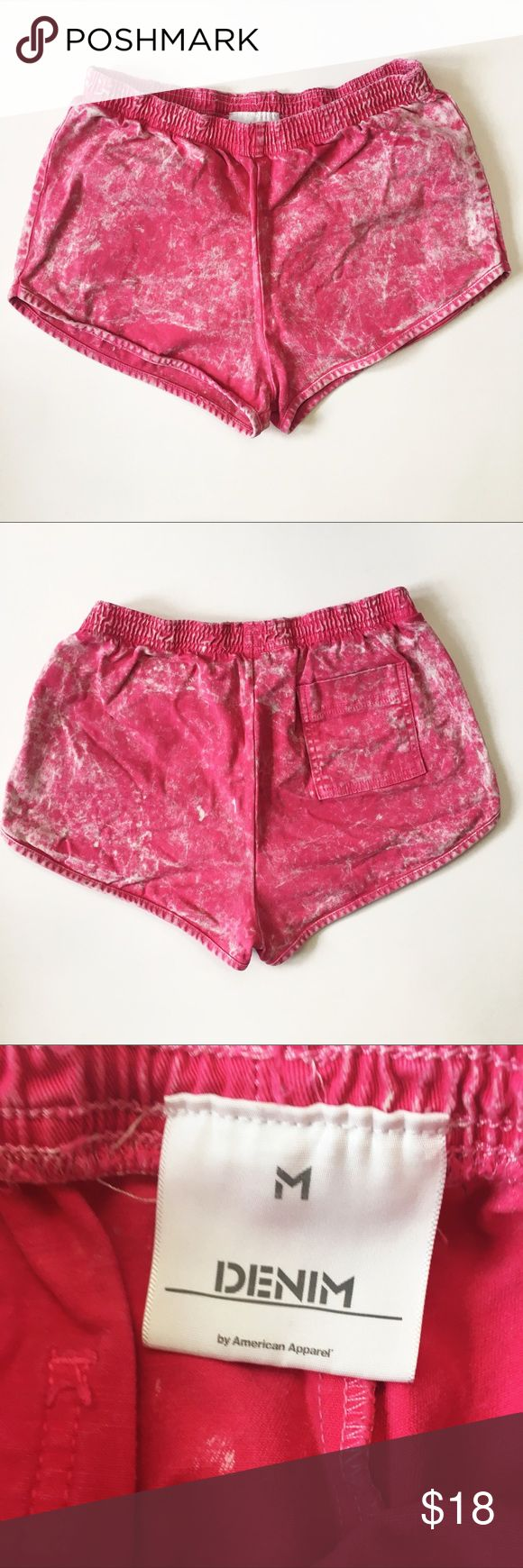 "American Apparel Hi-Waisted Pink Acid Wash Shorts Preloved American Apparel pink high waisted, acid wash shorts in size medium.   98% cotton 2% elastane  Waist: 25"" Rise: 10.5"" Inseam: 1.5"" American Apparel Shorts Jean Shorts"