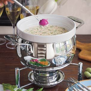 William-Sonoma Blue Cheese Fondue. I will be adding a couple garlic cloves, pinch of dry mustard, and maybe even some Gruyère cheese and a hint of sherry and nutmeg to this recipe as well.