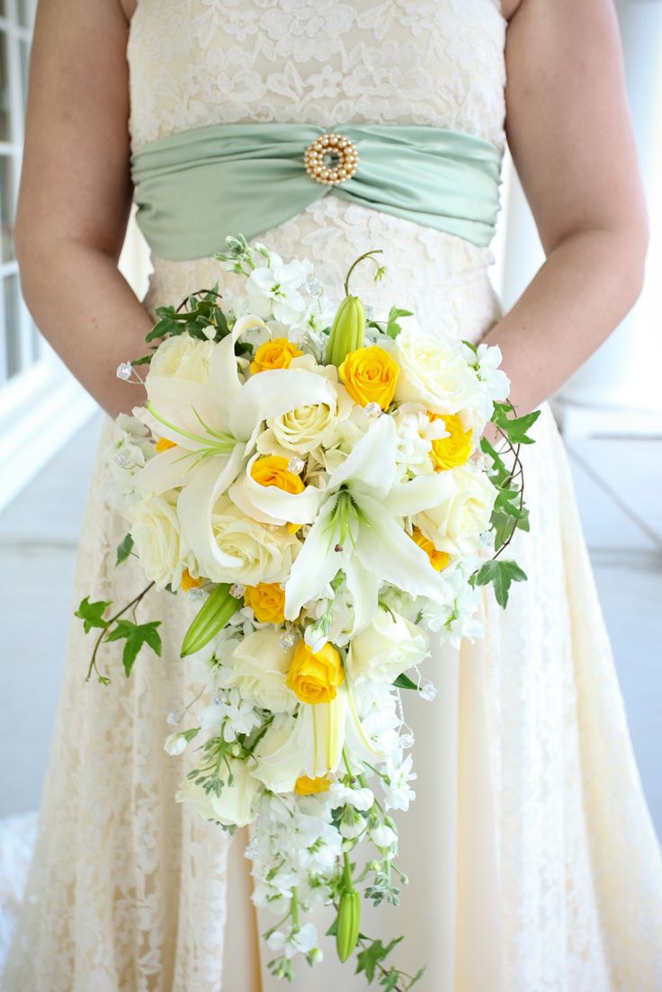 White and Yellow Cascade Bouquet. Photo by Carrie Wildes Photography.  www.abweddingstampa.com