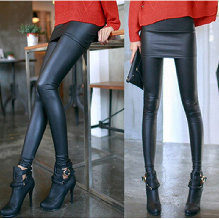 New Fashion Leather Skirt Leggings Women's Sexy Pencil Pants Autumn Footless Leggings With Skirts Black Casual Wear LG-468