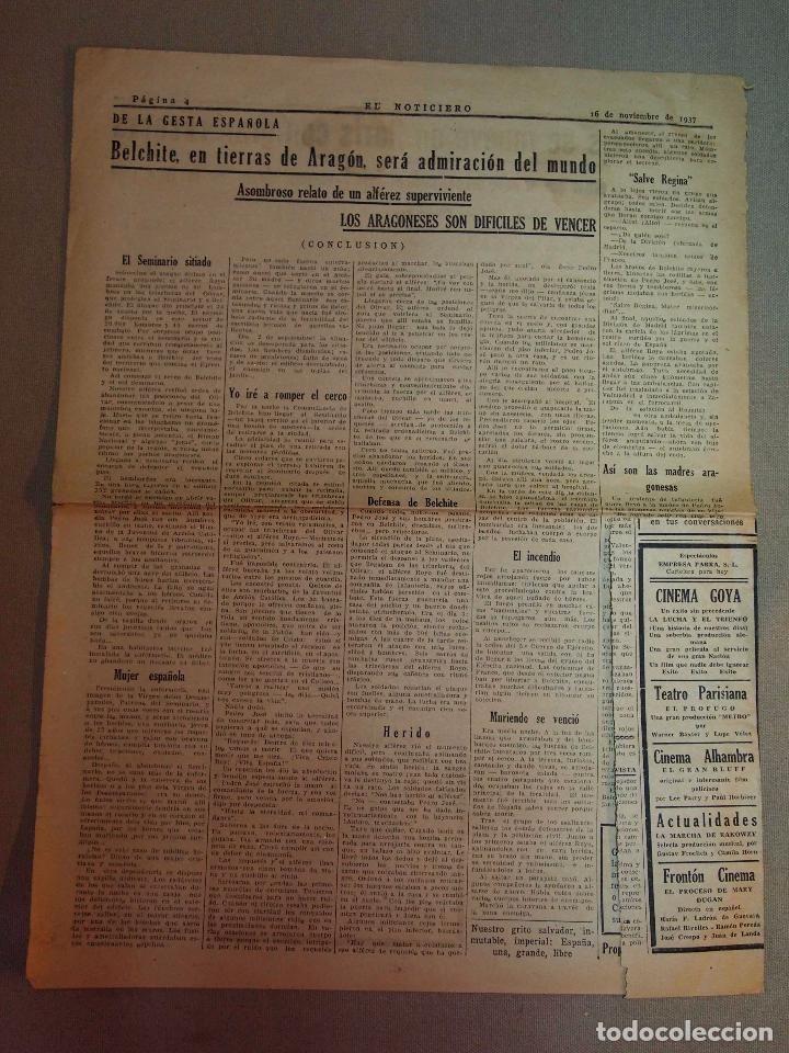 RECORTE DE PERIODICO, EL NOTICIERO, NOVIEMBRE 1937, RELATO DE ALFEREZ, BELCHITE, GESTA ESPAÑOLA - Foto 1