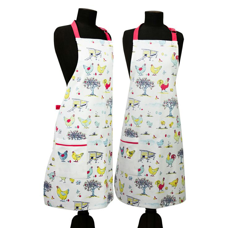 Australian Certified Organic cotton adult apron. Designed in Australia. Printed with water based dyes. Machine embroidered and repeat print. Adjustable neck strap and pocket with embroidered chickens. Design features chickens, eggs and farmyard scene. #climatefriendly #certifiedorganic #apron #kitchen #accessory