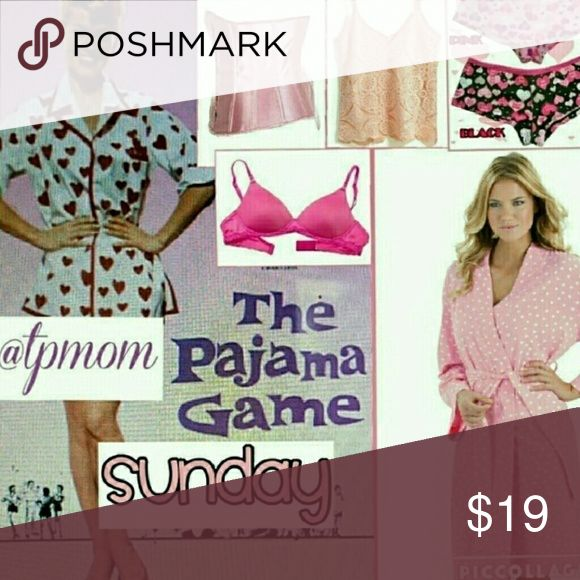PG share group sign in..July 9 Sharing begins at 9 a.m. and the group closes at approximately 6 p.m. and these are all Eastern Standard Time. Please share 5 items in the Intimates category. Please sign out when finished and let's make some sales. Please tag me with any questions or comments on the Q&A page in this section. Please finish sharing by midnight in your own time zone. Intimates & Sleepwear