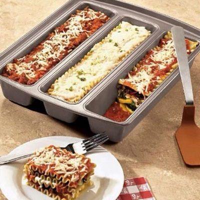 Chicago Metallic Lasagna Trio Pan - Make 3 Different Lasagnas At Once! http://heresyoursavings.com/chicago-metallic-lasagna-trio-pan-make-3-different-lasagnas/