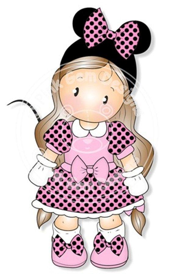 Digital Digi Stamp Mini Chloe - Mouse, Girls Birthday Card, Party  Invitatations etc