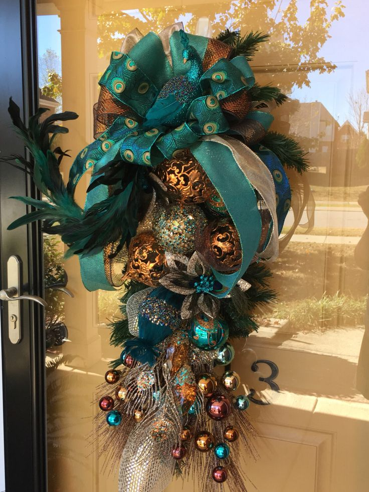 Christmas Wreath Front Door Wreath Peacock Wreath Peacock Christmas Wreath Christmas Swag Peacock Swag Peacock SHIPS NOW! by ItsintheDetailsAMY on Etsy https://www.etsy.com/listing/487149161/christmas-wreath-front-door-wreath