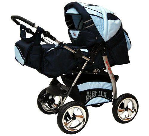 Lux4Kids King 2 en 1 Cochecito Combinado (cubierta de lluvia, mosquitero, con la bandeja para el cochecito, colchones, cambiador) 07 azul & azul suave  #maternidad