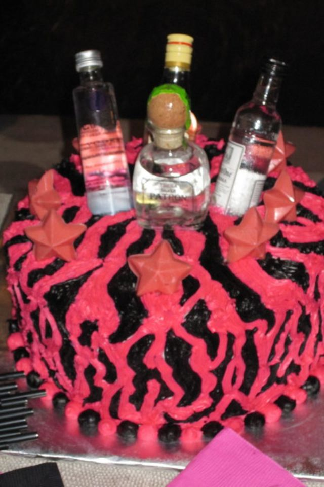 Red Velvet Cake With Mini Liquor Bottle Cake Toppers For A