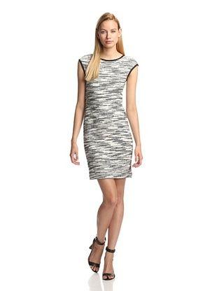 60% OFF DEREK LAM Women's Knit Cap Sleeve Dress (White/Black)