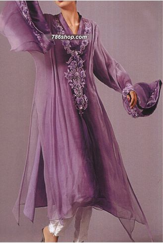 Purple Crinkle Chiffon Suit | Buy Pakistani Indian Dresses | 786Shop.com