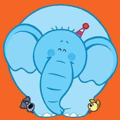 Woezel en Pip achter een grote olifant.