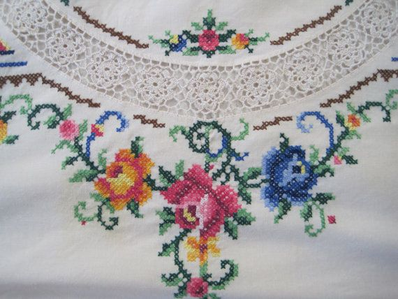 Vintage White Tablecloth Round Hand Embroidered and