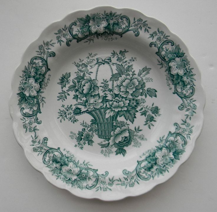 Vintage Teal Green TRANSFER WARE Shallow Salad Bowl / Deep Plate For consideration is this stunning, rimmed bowl / plate by Ridgways in the Bouquet pattern. It is scalloped around the edge with scroll