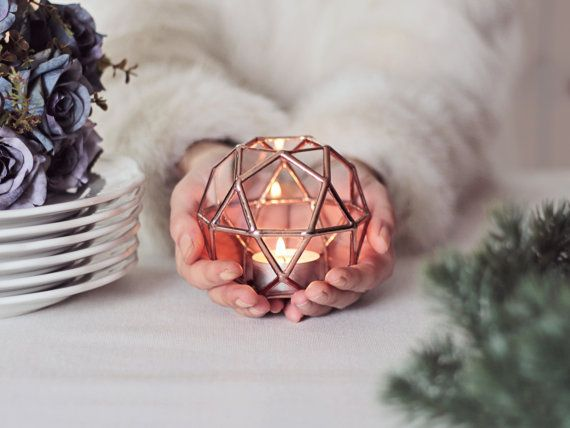 Glass Geometric Candle Holder / Christmas Lights / Holiday by Waen