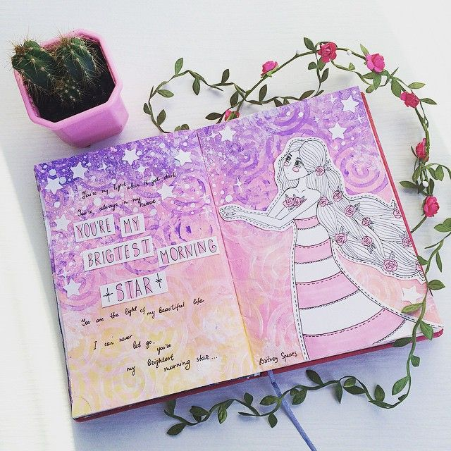 Доброе утро Разворот артбука из вчерашнего видео на канале. #journal #artjournal #artbook #smashbook #sketchbook #diary #личныйдневник #лд #cactus #rose #notebook #art