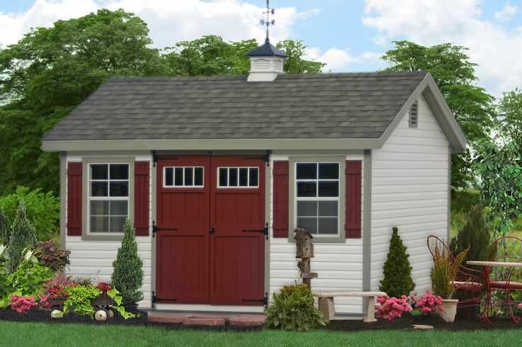 Small Workshop Storage Shed for Sale from the Amish in PA. Buy a vinyl sided shed direct.