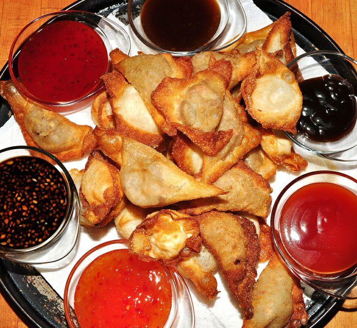fried wontons, crab rangoon, dipping sauces