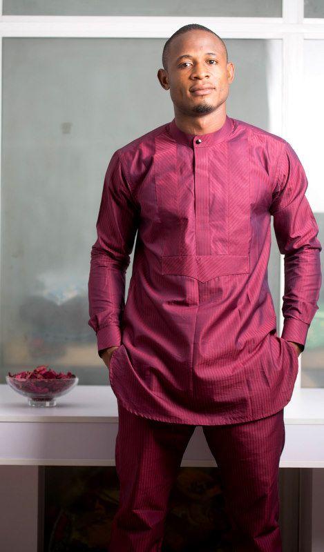 Maroon masculine africaine Kaftan vêtements africains