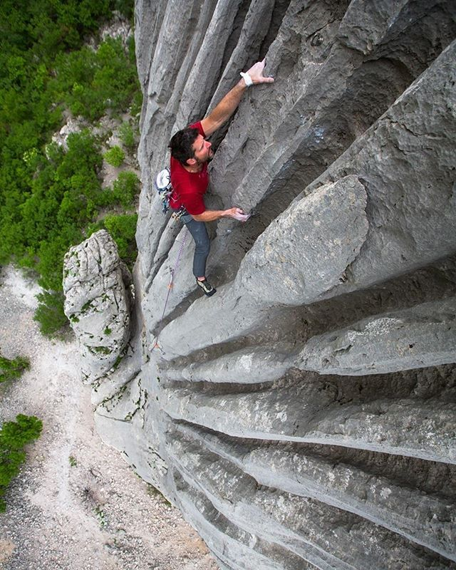 Climbing in Croatia. Paklenica National Park full of beautiful karst limestone! Bayard Russell cruises up the water runnels of Bears On Toast, 6C+.