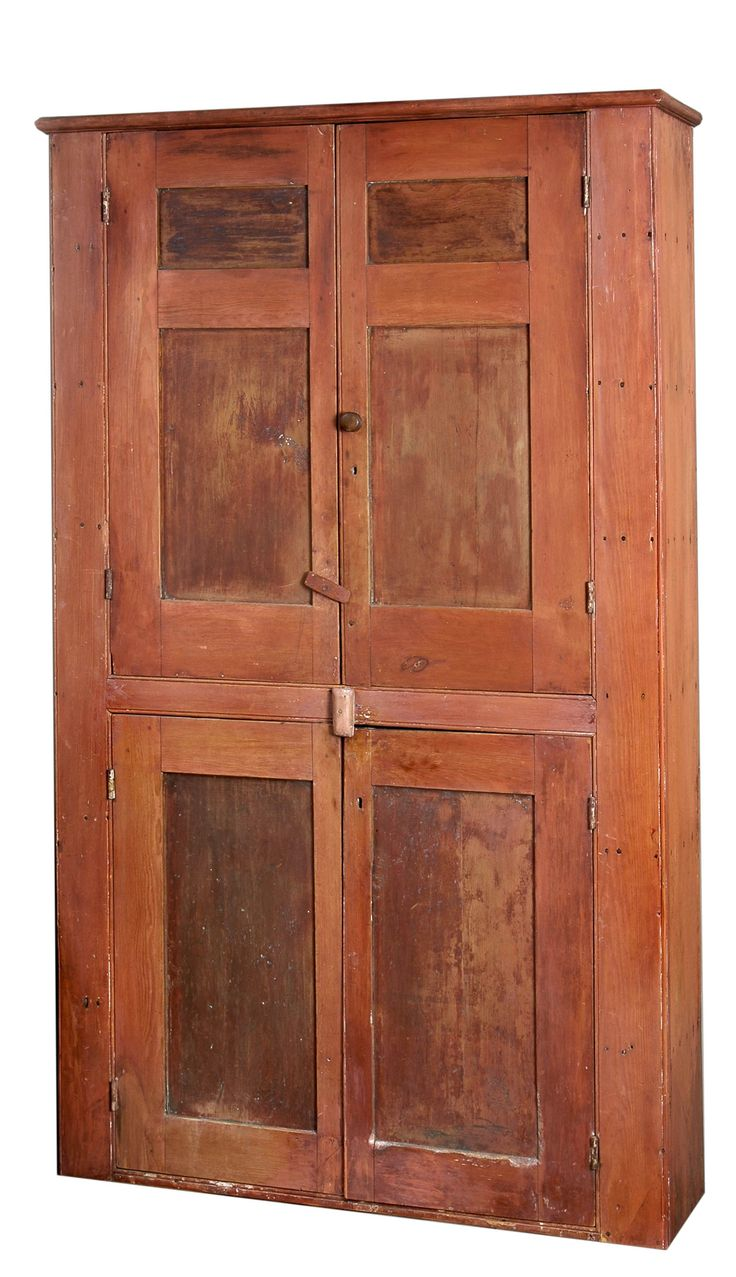 Cupboard, pine and poplar, red stained finish - 704 Best Primitive/Vintage Pie Safes Images On Pinterest