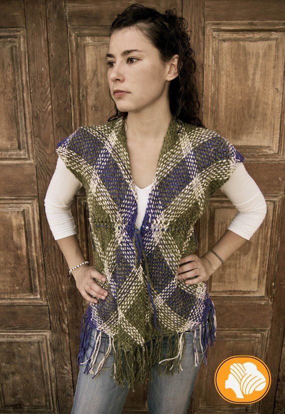 Romantic green and blue sleeveless sweater by Ullvuna on Etsy, $120.00
