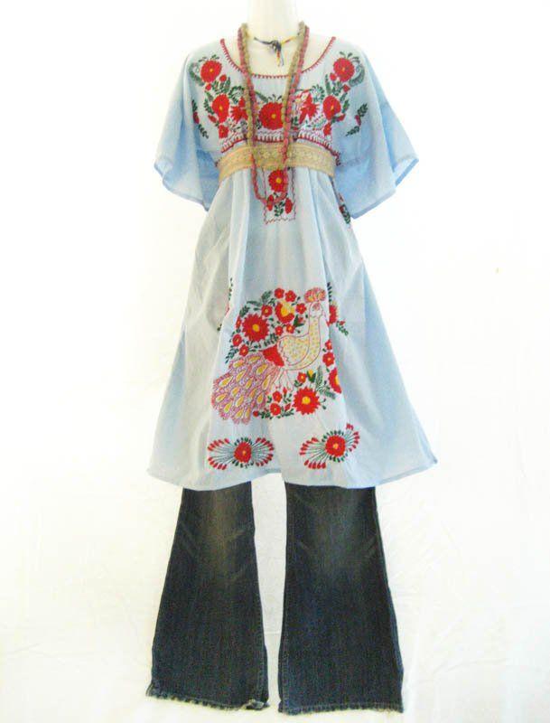 Mexican Bohemian Style hand embroidered dress (1960s-70s) with denim pants // Aida Coronado