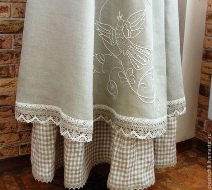 Юбка льняная авторская с ручной вышивкой (длинная) - серый,однотонный